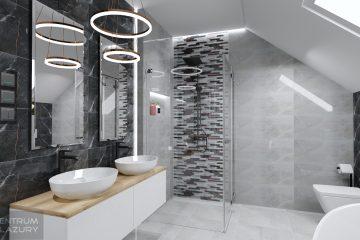 Projekt łazienki z zastosowaniem płytek imitujących kamień Brainstorm Tubądzin.