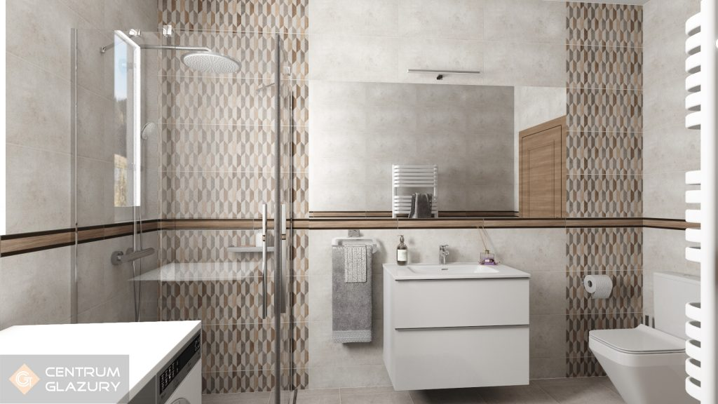 Projekt łazienki z zastosowaniem szarych, matowych płytek z geometrycznym dekorem