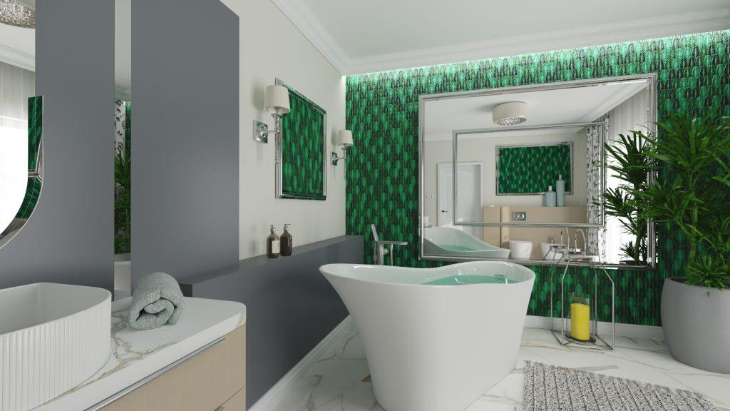 Kobieca łazienka z zielona mozaiką Aurora green Raw decor umieszczoną w ramie jak obraz.