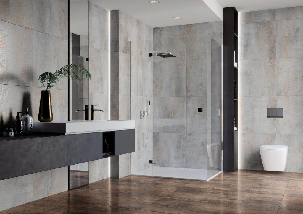 Łazienka w stylu industrialnym, w której użyta jest kolekcja Hera Ceramiki Limone.