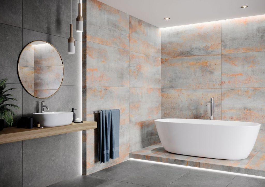 Łazienka z płytkami Hera Ceramika Limone. Płytki są inspirowane metalem