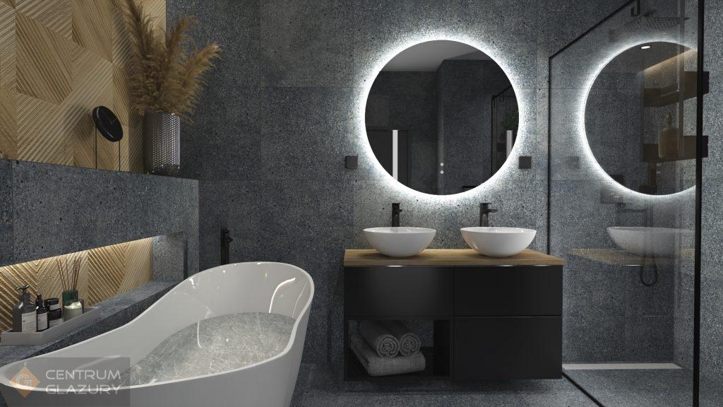 Projekt łazienki z płytkami Tubądzin Terrazzo tworzy industrialne wnętrze.