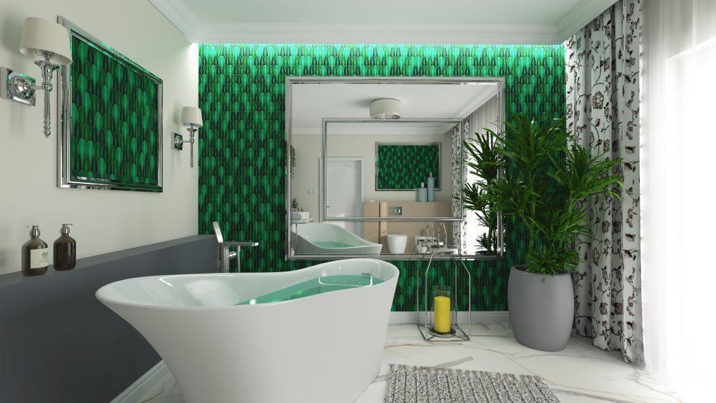 łazienka z wanną wolnostojącą i mozaiką raw decor aurora green na całej ścianie.