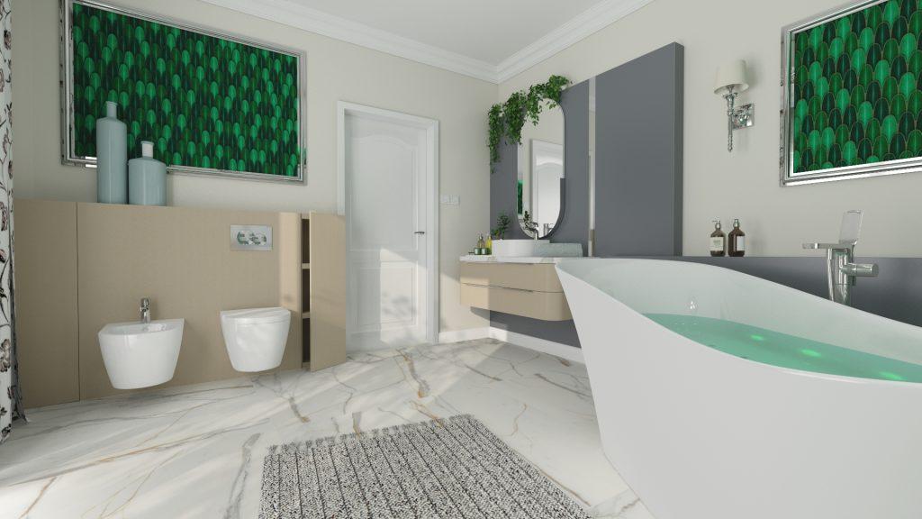 Projekt łazienki z wykorzystaniem mozaiki Aurora green Raw Decor