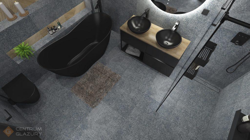 Projekt industrialnej łazienki z czarna ceramiką.