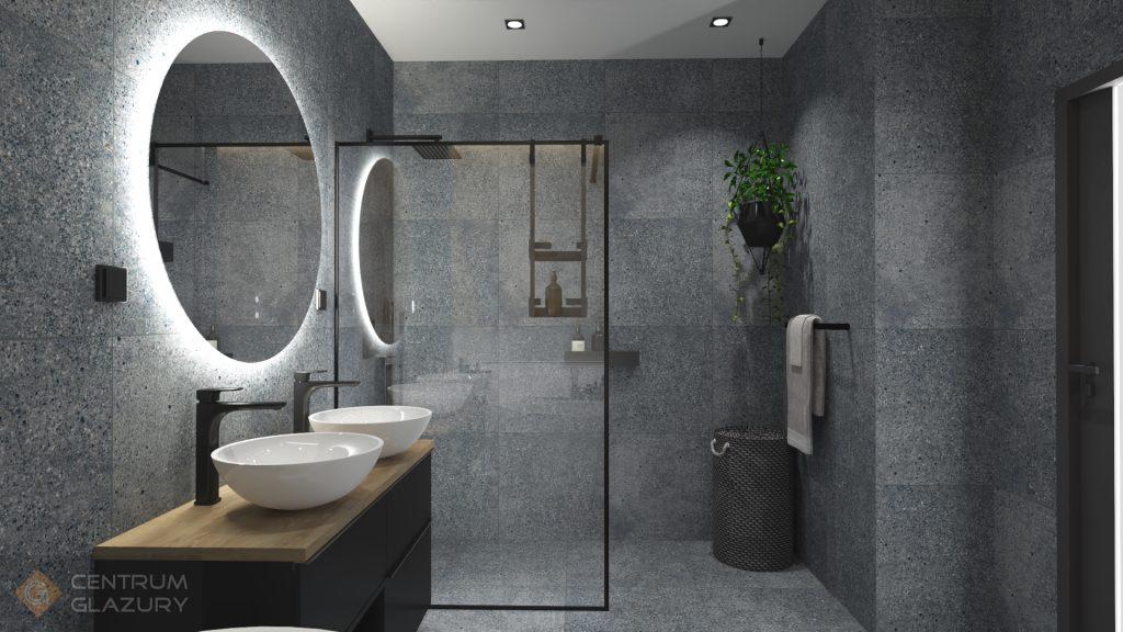 Projekt industrialnej łazienki z płytkami Terrazzo Tubadzin i Tavola.