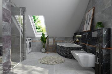 Płytki łazienkowe Brainstorm Tubądzin w projekcie łazienki ze skosem.
