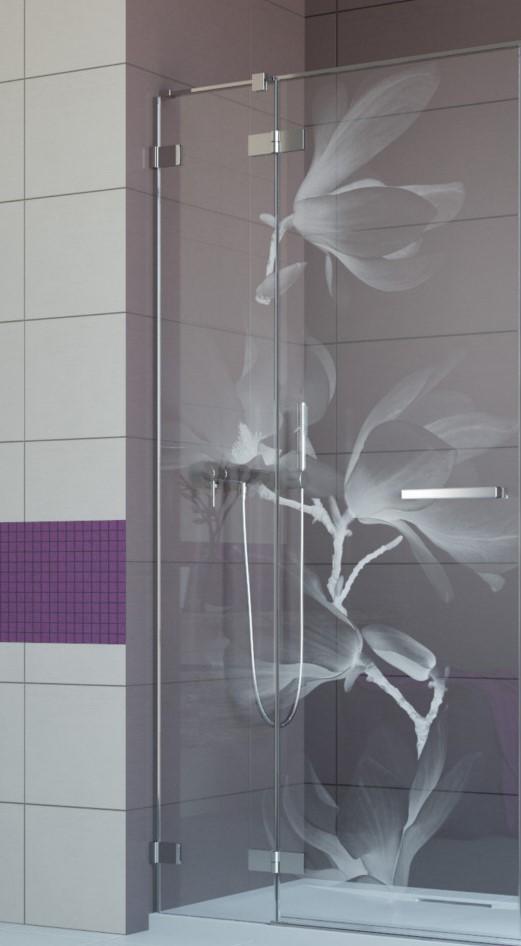 Drzwi prysznicowe z grawerem magnolia Radaway Fuenta new DWJ.