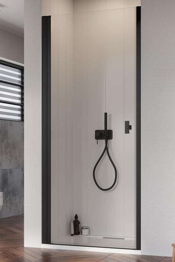 Drzwi wnękowe prysznicowe Radaway Nes DWJ I black lewe 90cm z drzwiami wahadłowymi.