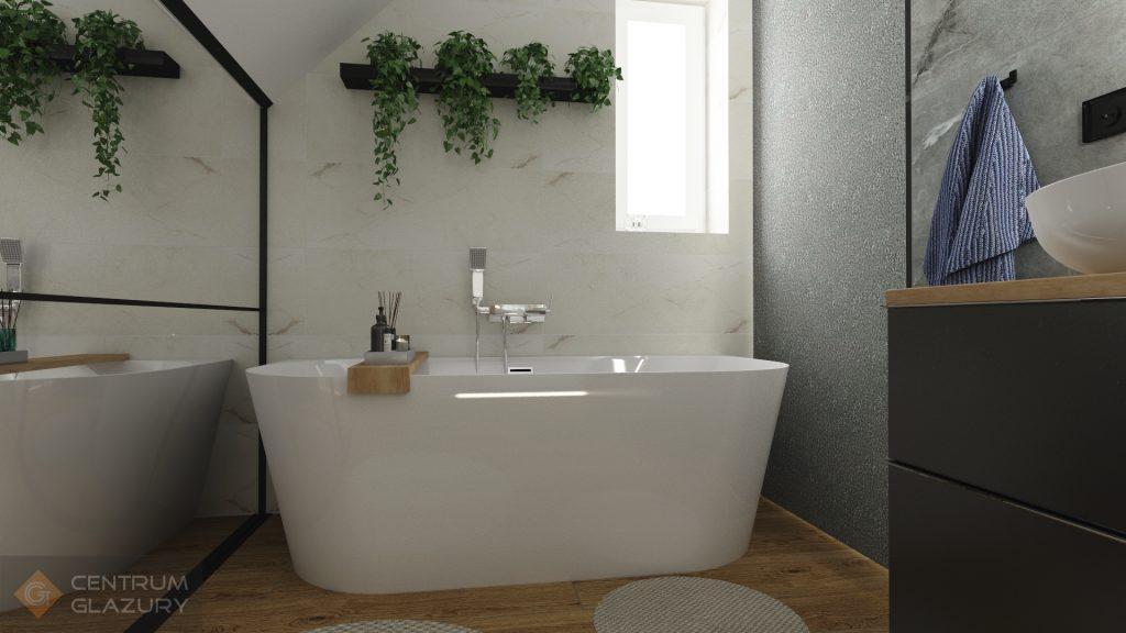 Projekt łazienki ze skosem z płytek Organic matt Tubądzin
