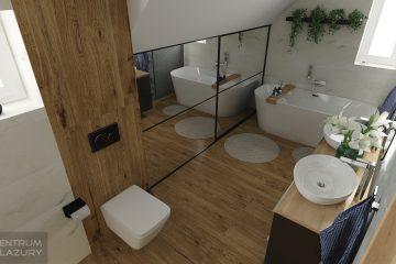 Łazienka ze skosem z zastosowaniem kolekcji Organic matt Tubądzin