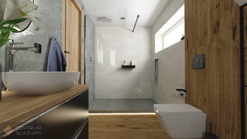 Kolekcja Tubądzin Organic matt w projekcie łazienki ze skosem.