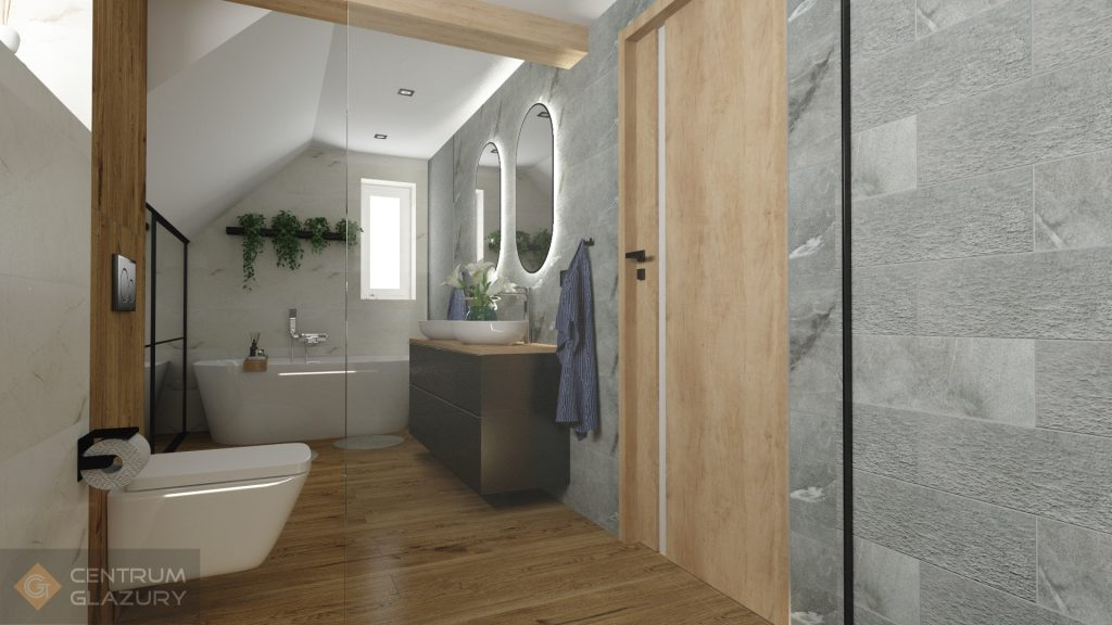 Projekt łazienki z użyciem płytek Tubądzin Organic Matt.
